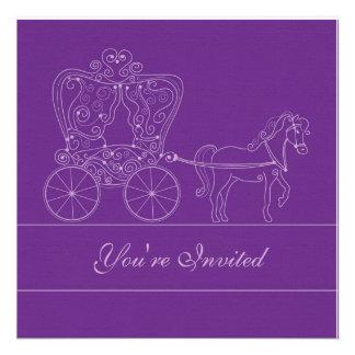 5x5 Dark Purple Carriage Wedding Invitation
