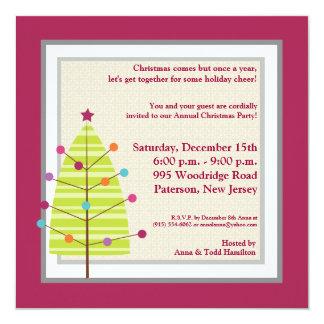 5x5 Green Tree / Ornaments Christmas Invitation