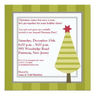 5x5 Olive Green Striped Tree Invitation