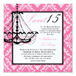 5x5 Pink Chandelier Quinceanera Invitation