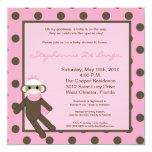 5x5 Pink Sock Monkey Toy Baby Shower Invitation