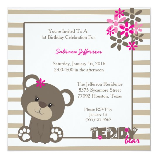 5x5 Pink Teddy Bear Birthday Party Invitation