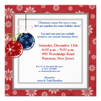 5x5 Red Blue Hanging Ornaments Invitation