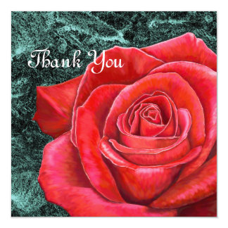 5x5 Red Rose Thank You Card 13 Cm X 13 Cm Square Invitation Card