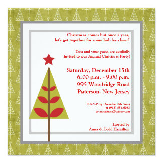 "5x5 Red Star Christmas Tree Invitation 5.25"" Square Invitation Card"