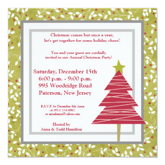 "5x5 Red Tree Christmas Holly  Invitation 5.25"" Square Invitation Card"