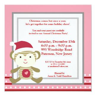 5x5 Winter Monkey in Santa Hat Invitation