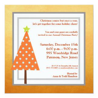 5x5 Winter Orange Christmas Tree Invitation