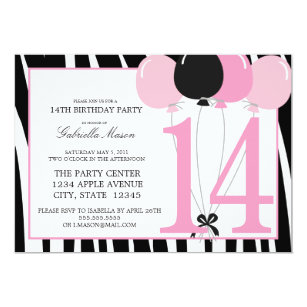 14th birthday invitations zazzle uk