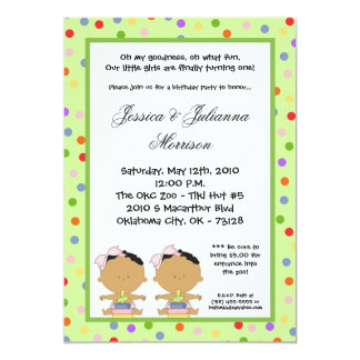 5x7 African American TWIN Birthday Part Invitation