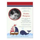 5x7 Ahoy Nautical Whale Boat Birthday Invitation Announcements
