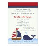5x7 Ahoy Nautical Whale Boat Birthday Invitation Invitation