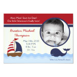 5x7 Ahoy Nautical Whale Photo Birth Announcement Personalized Invitations