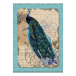 5x7 Ancient Peacock Vintage Wedding Invitation