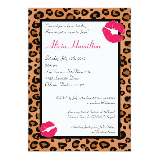 "5x7 Animal Print Bachelorette Invitation 5"" X 7"" Invitation Card"