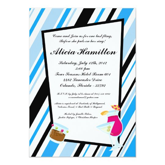 5x7 Aqua Blue Cocktails Bachelorette Invitation