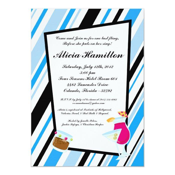 5x7 Aqua Blue Cocktails Bachelorette Invitation