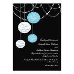 5x7 Aqua Blue Paper Lanterns Wedding Invite