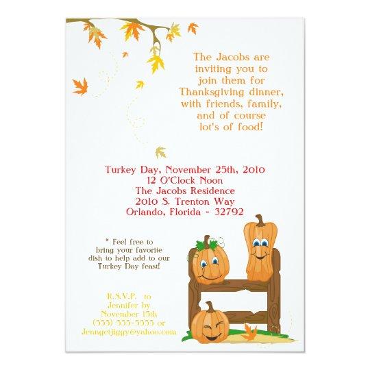 5x7 Autumn Thanksgiving Dinner Party Invitation