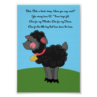 5x7 Bah Bah Black Sheep Rhyme Kids Room Wall Art