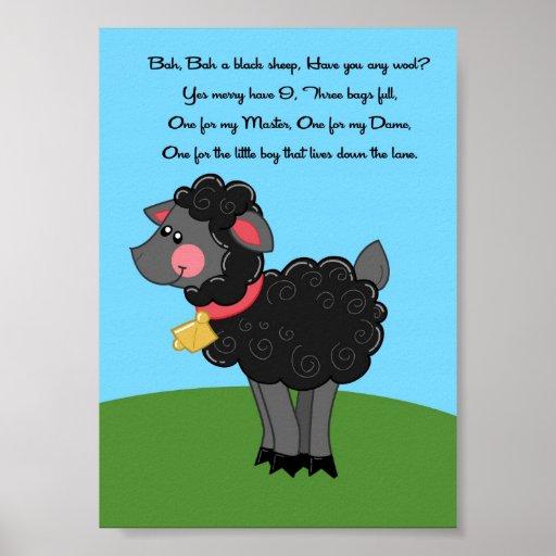 5x7 Bah Bah Black Sheep Rhyme Kids Room Wall Art Poster