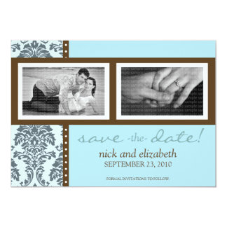 5X7 Baroque Teal Chocolate Two-Photo Save the Date Card