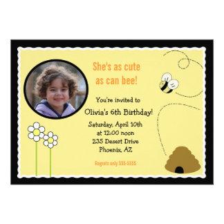 5x7 Bee Happy PHOTO Birthday Invitation Card