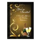 5x7 Black and Gold Swirl, Custom Birthday Party Card