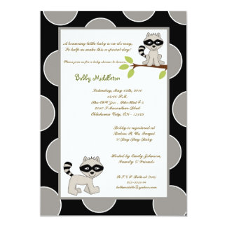 5x7 Black Gray Racoon  Baby Shower Invitation