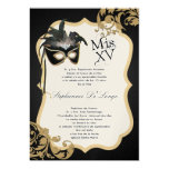 5x7 Black Masquerade Mask Quinceanera Invitation