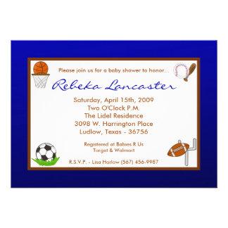 5x7 Blu Boy Sports Football Baby Shower Invitation