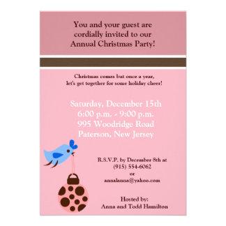 5x7 Blue Bird / Christmas Ornaments Invitation