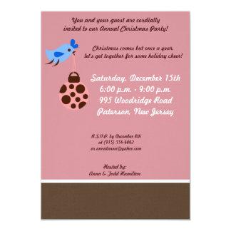 "5x7 Blue Bird / Christmas Ornaments Invitation 5"" X 7"" Invitation Card"