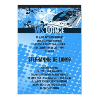 5x7 Blue DJ Turntable Quinceanera Invitation