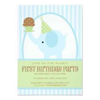 5x7 Blue Elephant Birthday Invitation