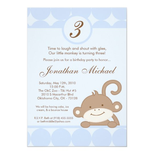 5x7 Boy Blue PolkaDot Monkey Birthday Invitation