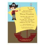 5x7 Boy Pirate Ship Birthday Party Invitation