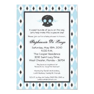 5x7 Boy Punk Rock Skull EMO Baby Shower Invitation