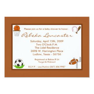 5x7 Boy Sports Football Baby Shower Invitation