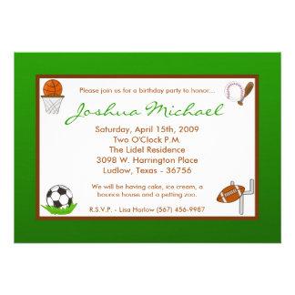 5x7 Boy Sports Football Birthday Party Invitation