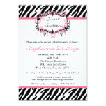 5x7 Butterfly Zebra Print Birthday Part Invitation
