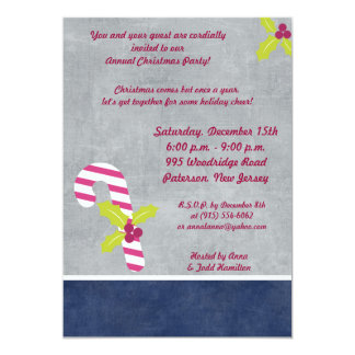 """5x7 Candy Cane and Holly Christmas Invitation 5"""" X 7"""" Invitation Card"""