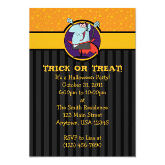 5x7 Cartoon Dracula Halloween Party Invitations