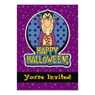 5x7 Cartoon Dracula Vampire Halloween Invitations
