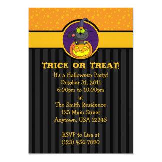 "5x7 Cat in Jack-o-Lantern Halloween Invitations 5"" X 7"" Invitation Card"