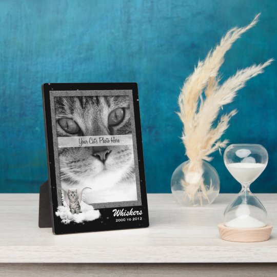 5x7 Cat Pet Memorial Silver Tabby Photo Plaque