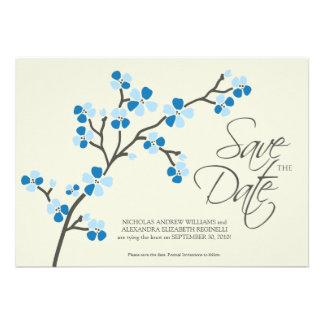 5X7 Cherry Blossom Designer Save the Date 2 blue Custom Invite