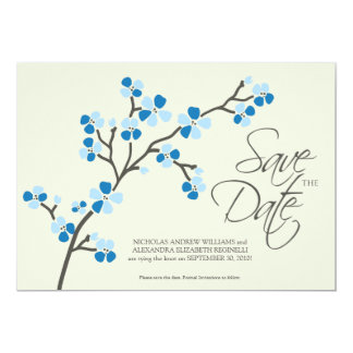 "5X7 Cherry Blossom Designer Save the Date 2 blue 5"" X 7"" Invitation Card"