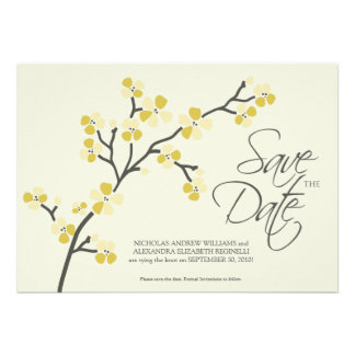 5X7 Cherry Blossom Designer Save the Date 2 citrus Invites