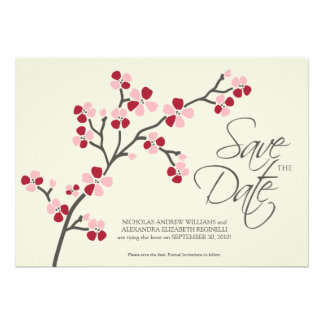 5X7 Cherry Blossom Designer Save the Date 2 red Personalized Invites